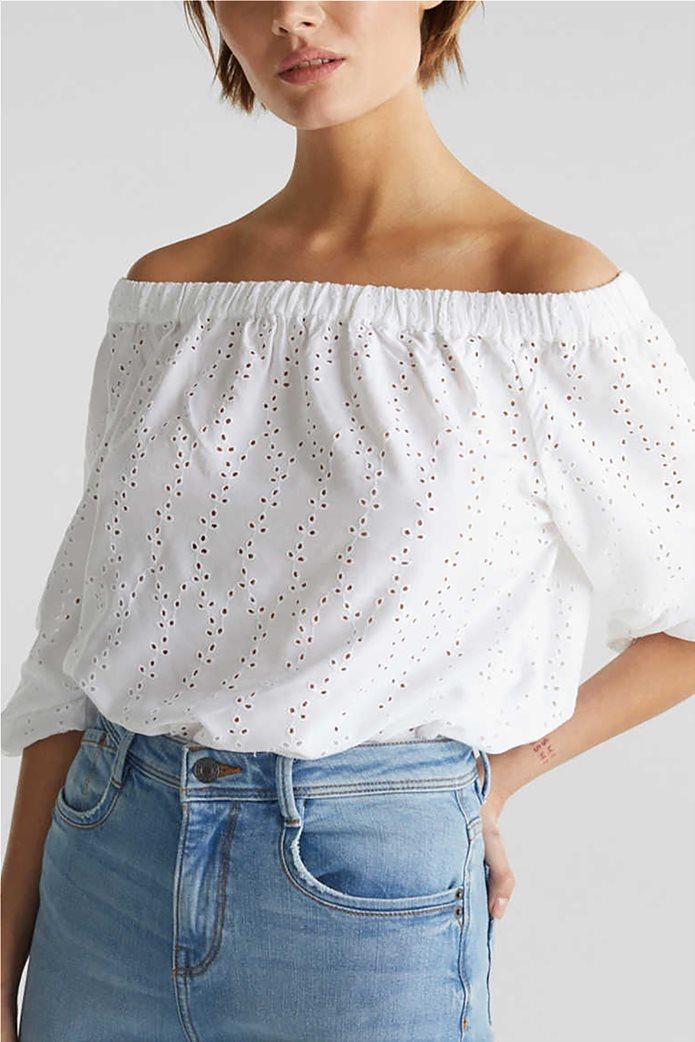Esprit γυναικεία μπλούζα μακρυμάνικη με carmen λαιμόκοψη και διάτρητο σχέδιο 0