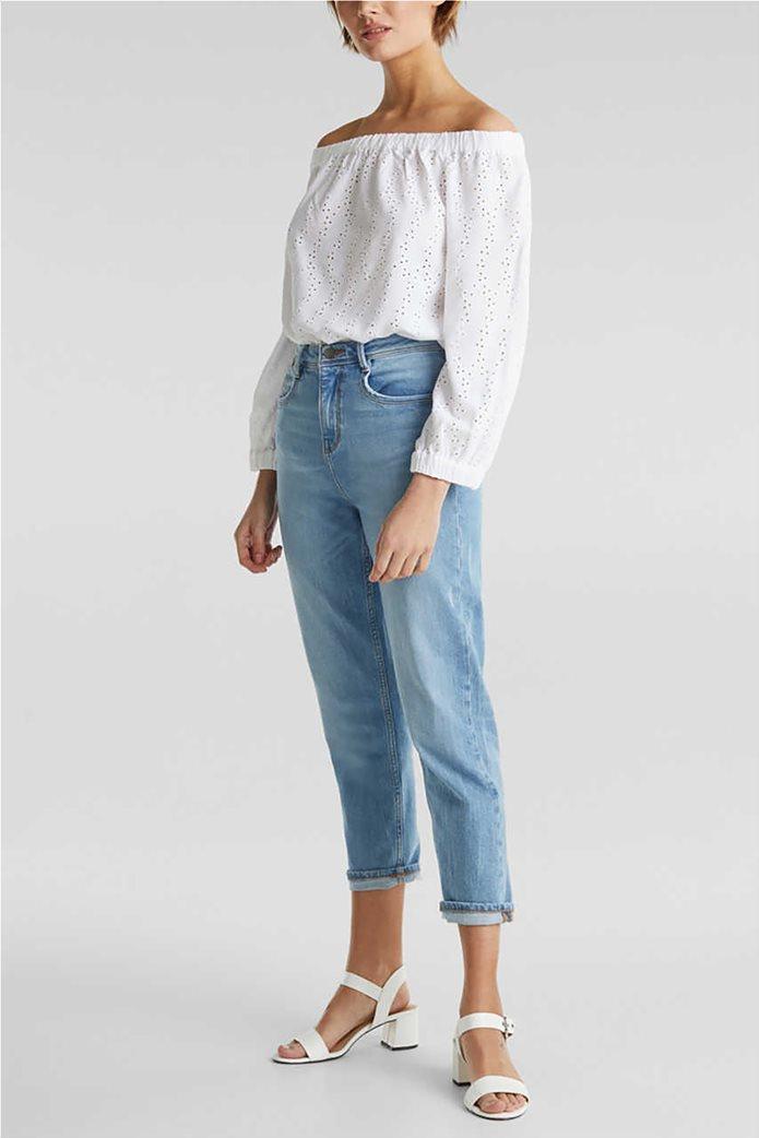 Esprit γυναικεία μπλούζα μακρυμάνικη με carmen λαιμόκοψη και διάτρητο σχέδιο 1