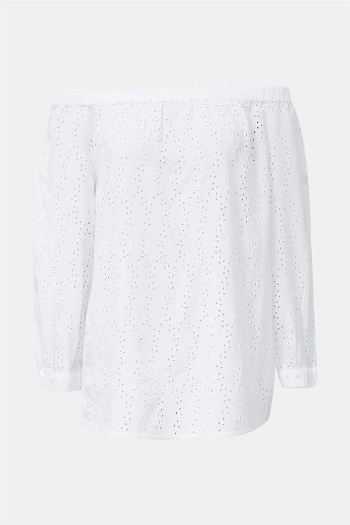 Esprit γυναικεία μπλούζα μακρυμάνικη με carmen λαιμόκοψη και διάτρητο σχέδιο 3