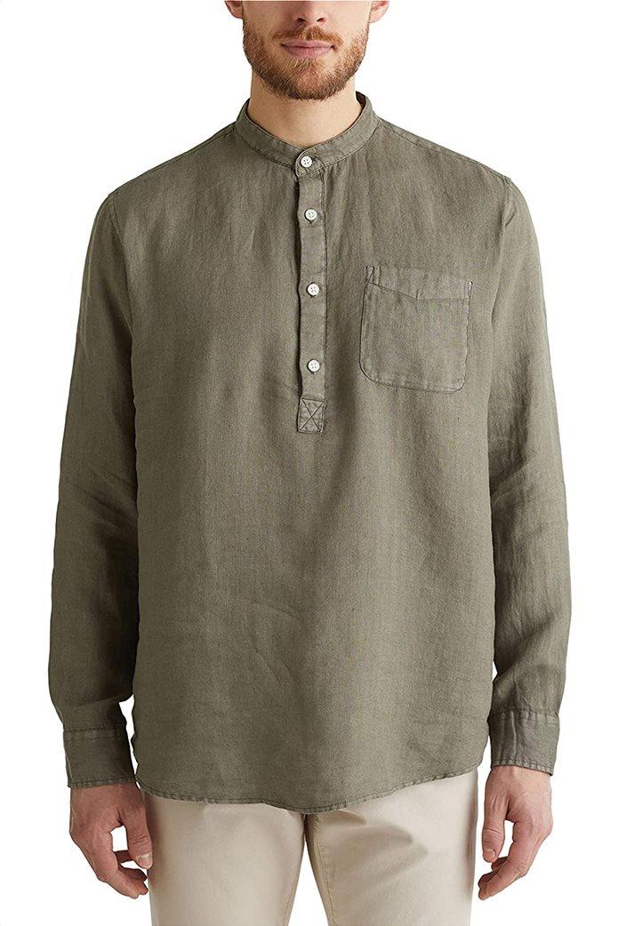Esprit ανδρική μπλούζα λινή με απλικέ τσέπη στο στήθος και μάο γιακά 0