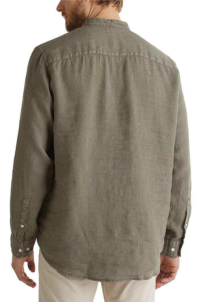 Esprit ανδρική μπλούζα λινή με απλικέ τσέπη στο στήθος και μάο γιακά 1