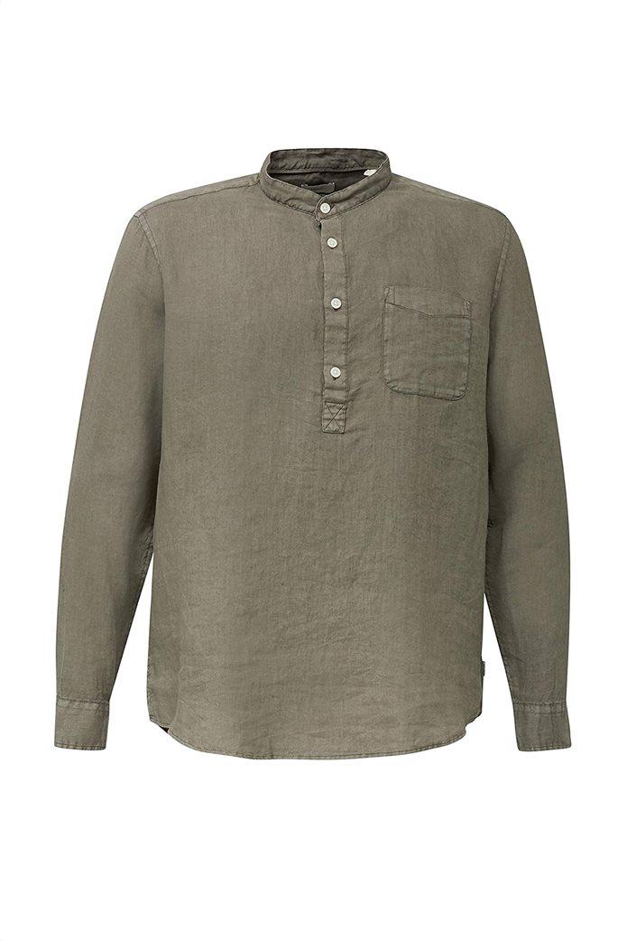 Esprit ανδρική μπλούζα λινή με απλικέ τσέπη στο στήθος και μάο γιακά 2