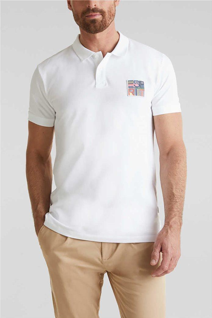 Esprit ανδρική μπλούζα πικέ polo με logo patch 0