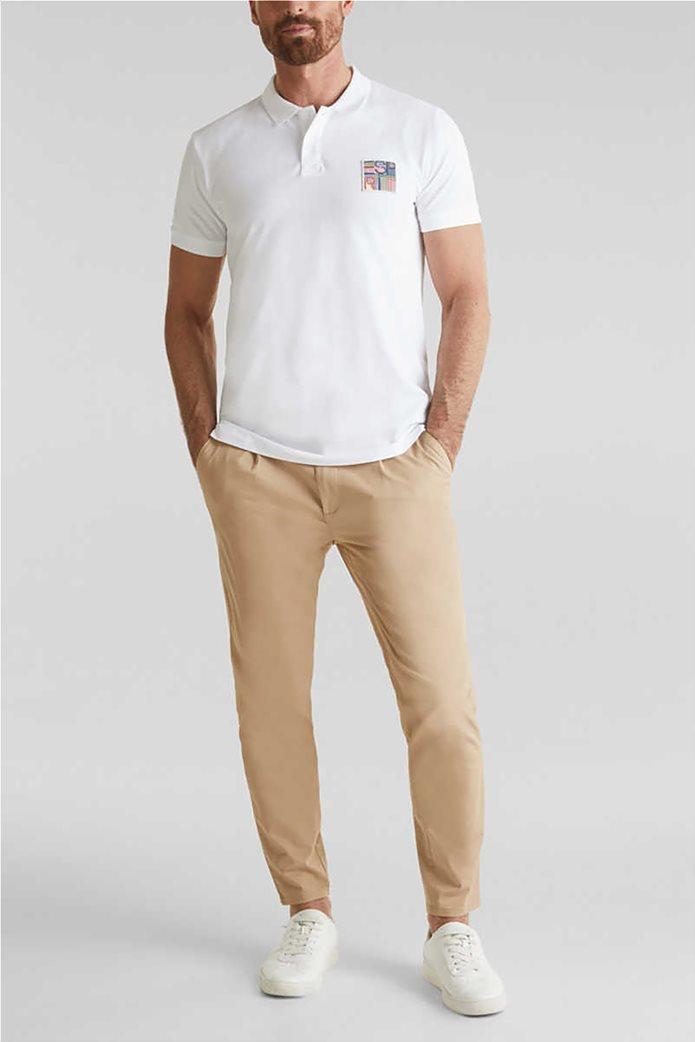 Esprit ανδρική μπλούζα πικέ polo με logo patch 1