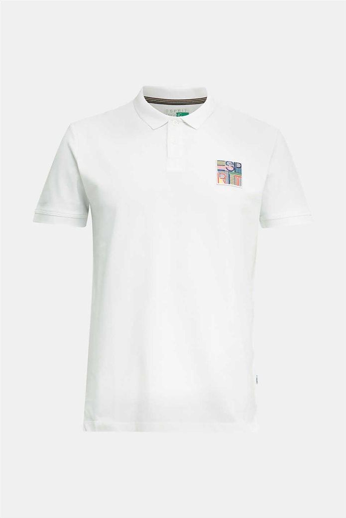 Esprit ανδρική μπλούζα πικέ polo με logo patch 3