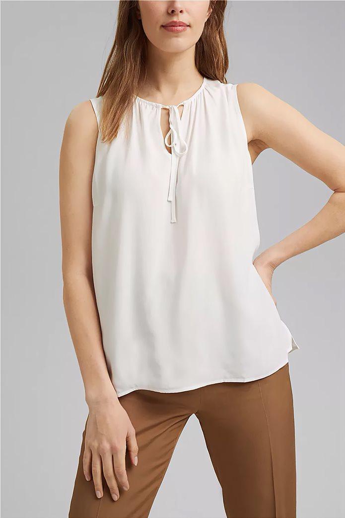 Esprit γυναικεία μπλούζα αμάνικη με δέσιμο στη λαιμόκοψη 0