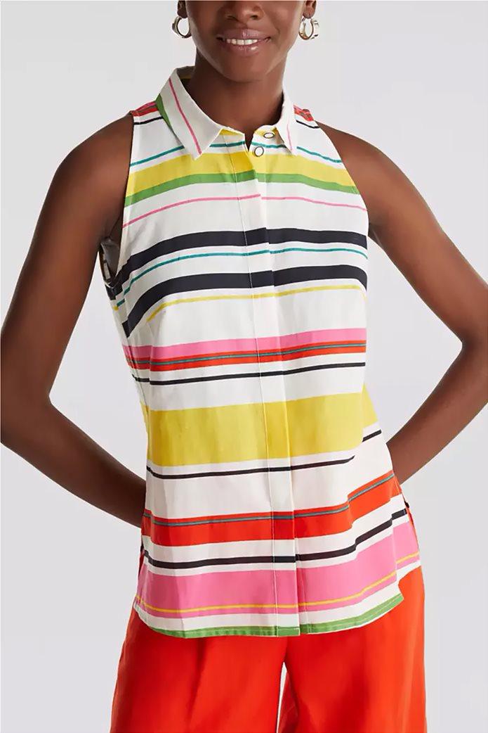 Esprit γυναικείο ριγέ πουκάμισο αμάνικο 0