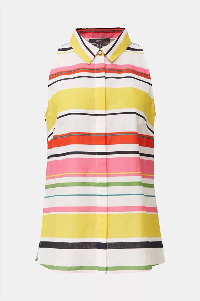 Esprit γυναικείο ριγέ πουκάμισο αμάνικο 4