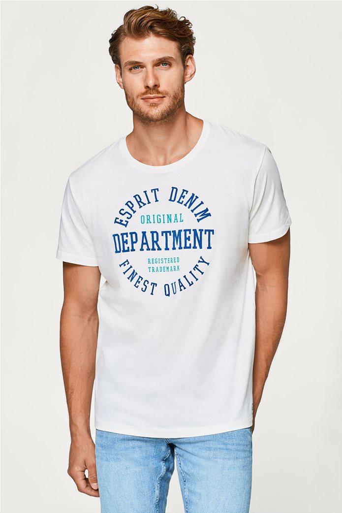 Esprit ανδρικό T-shirt με στάμπα βελουτέ 0
