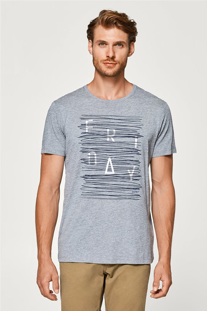 Esprit γκρι ανδρικό T-shirt με στάμπα Friday 0