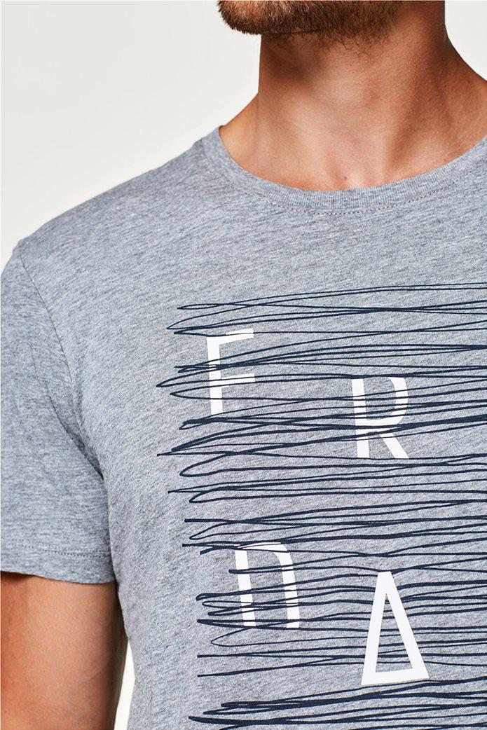 Esprit γκρι ανδρικό T-shirt με στάμπα Friday 1