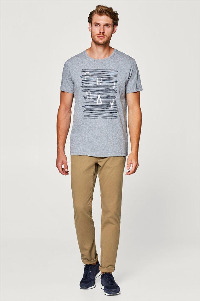 Esprit γκρι ανδρικό T-shirt με στάμπα Friday 4