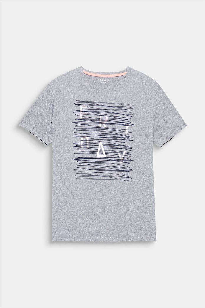 Esprit γκρι ανδρικό T-shirt με στάμπα Friday 6