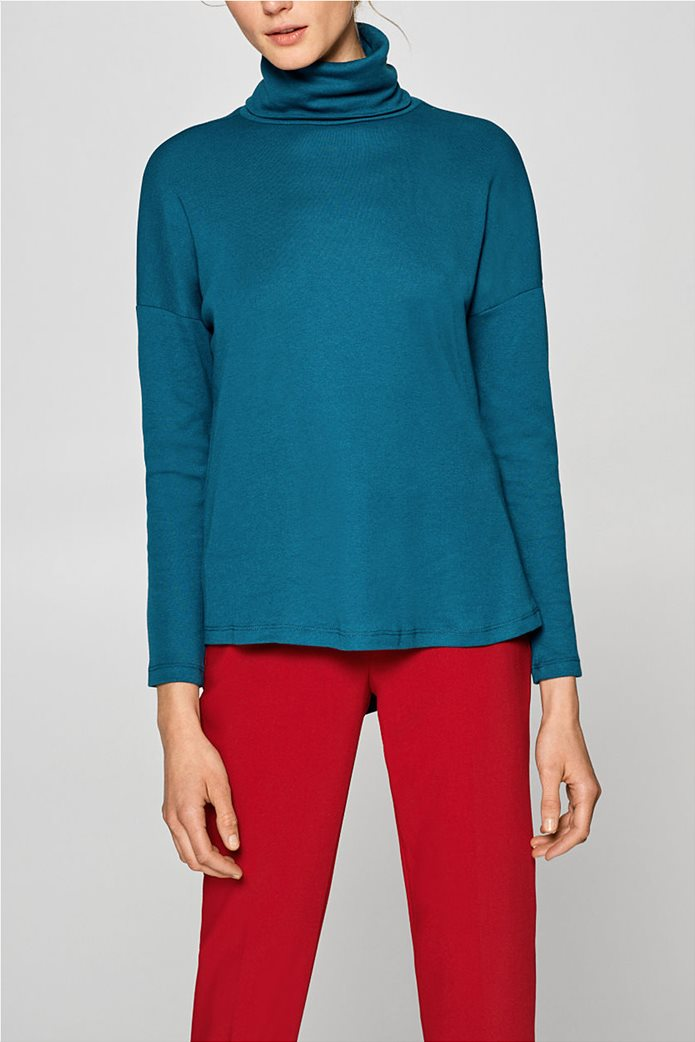 Esprit γυναικεία μπλούζα μονόχρωμη ζιβάγκο Α line 0