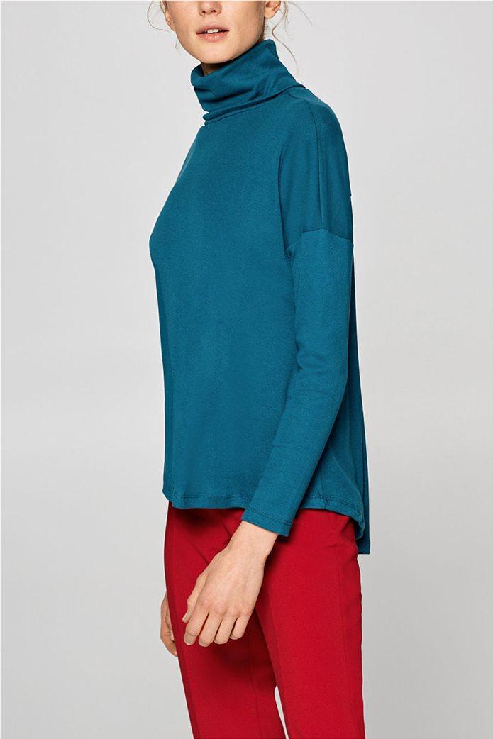 Esprit γυναικεία μπλούζα μονόχρωμη ζιβάγκο Α line 5
