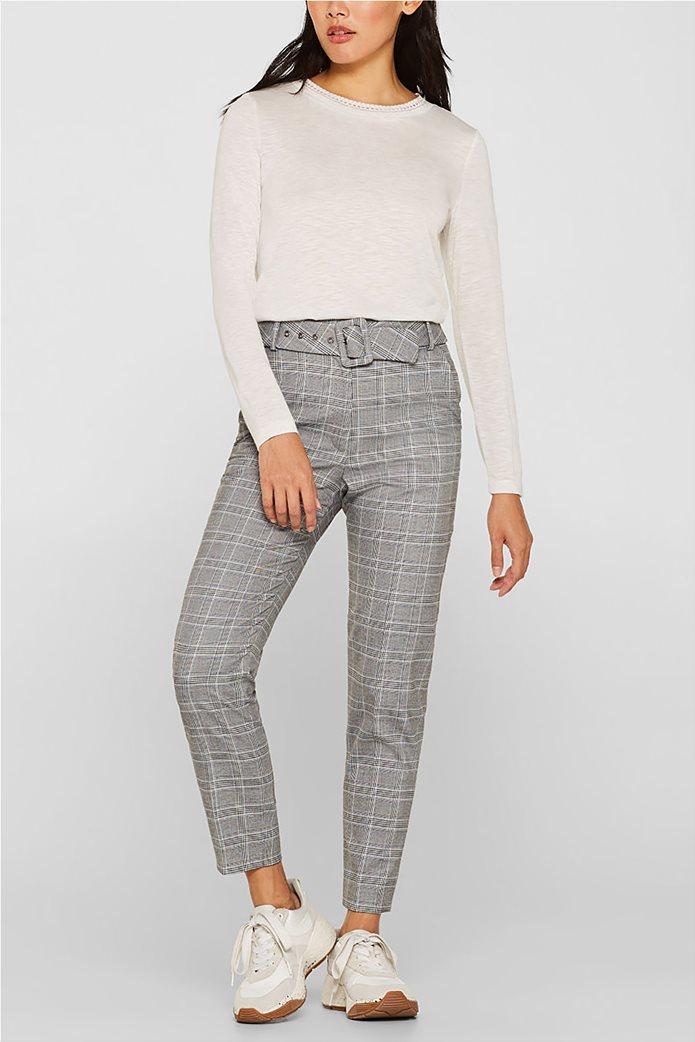 Esprit γυναικεία μακρυμάνικη μπλούζα με croche λαιμόκοψη 0