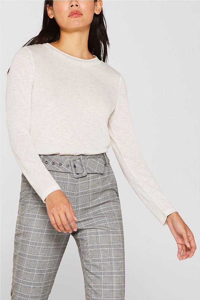 Esprit γυναικεία μακρυμάνικη μπλούζα με croche λαιμόκοψη 1