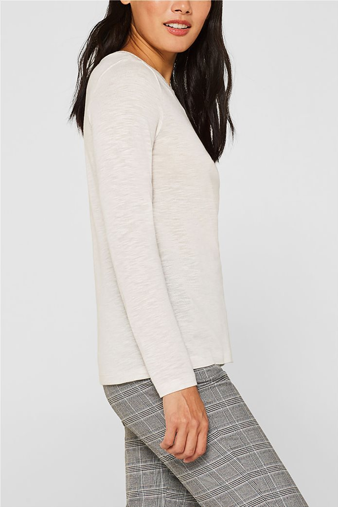 Esprit γυναικεία μακρυμάνικη μπλούζα με croche λαιμόκοψη 2