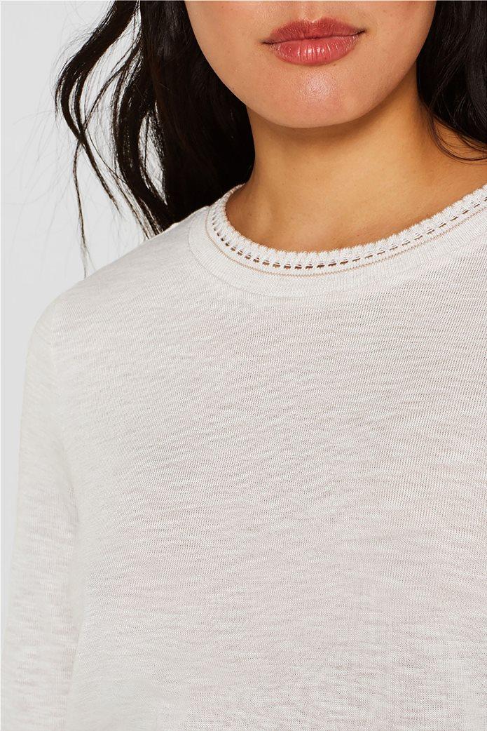 Esprit γυναικεία μακρυμάνικη μπλούζα με croche λαιμόκοψη 4