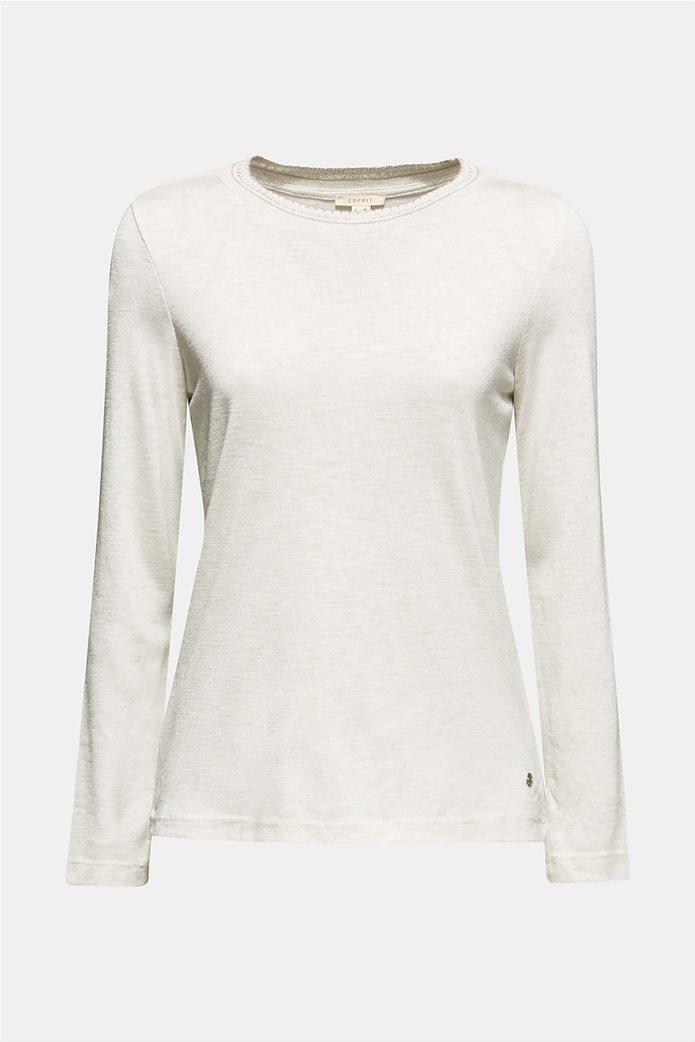 Esprit γυναικεία μακρυμάνικη μπλούζα με croche λαιμόκοψη 5
