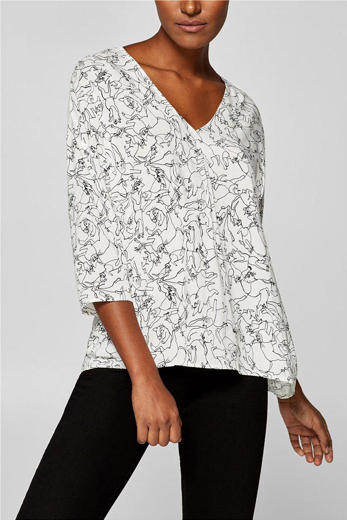 Esprit γυναικεία μπλούζα με print και λαιμόκοψη V 0