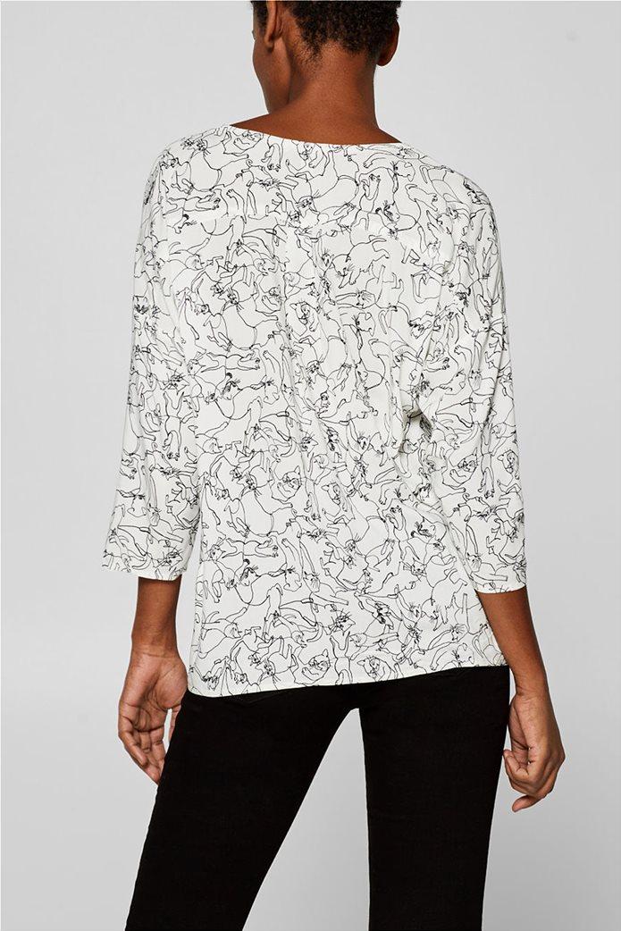 Esprit γυναικεία μπλούζα με print και λαιμόκοψη V 3