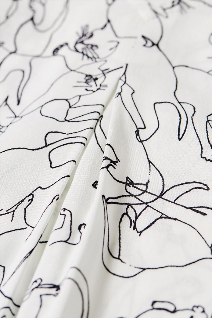 Esprit γυναικεία μπλούζα με print και λαιμόκοψη V 4