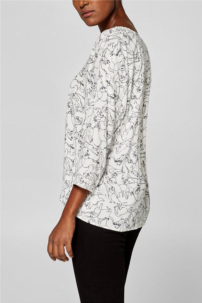Esprit γυναικεία μπλούζα με print και λαιμόκοψη V 5