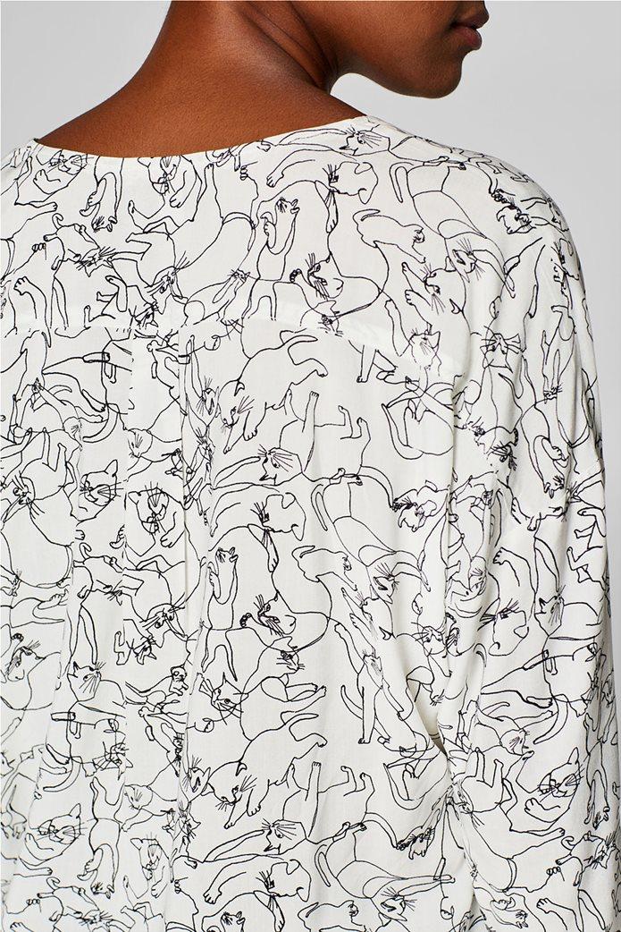 Esprit γυναικεία μπλούζα με print και λαιμόκοψη V 6