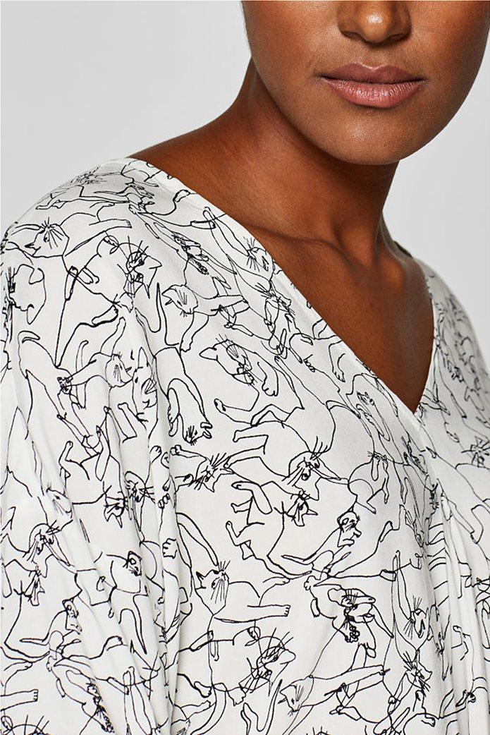 Esprit γυναικεία μπλούζα με print και λαιμόκοψη V 7