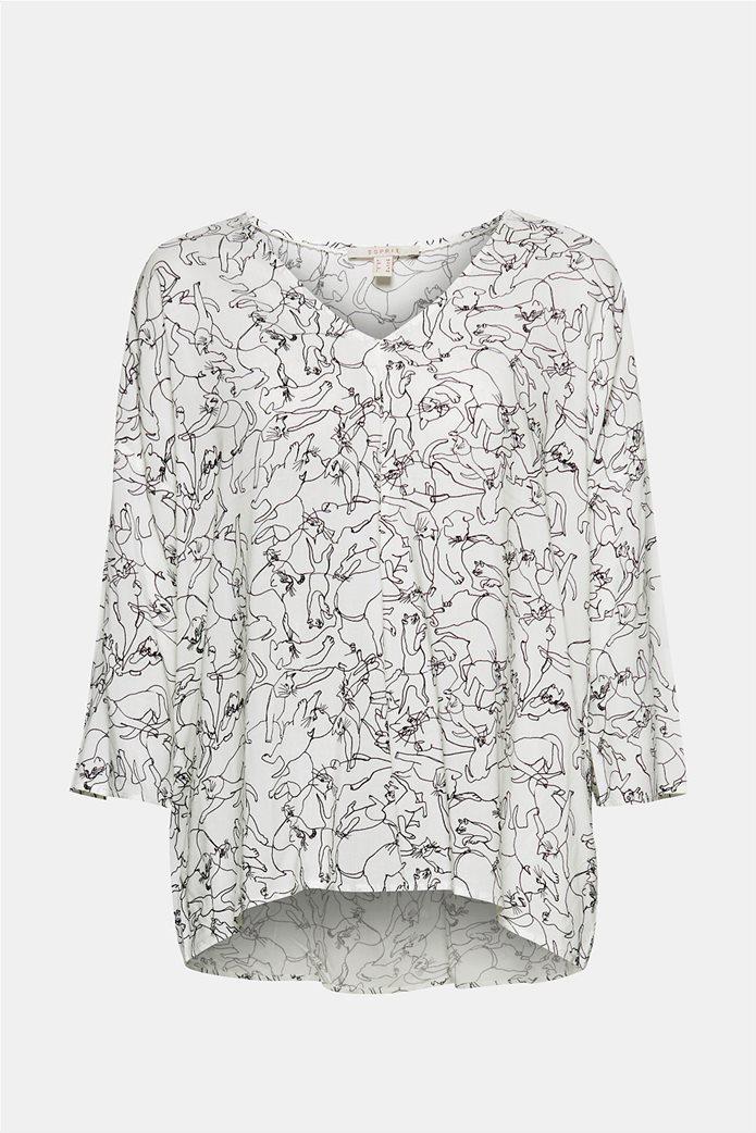 Esprit γυναικεία μπλούζα με print και λαιμόκοψη V 8