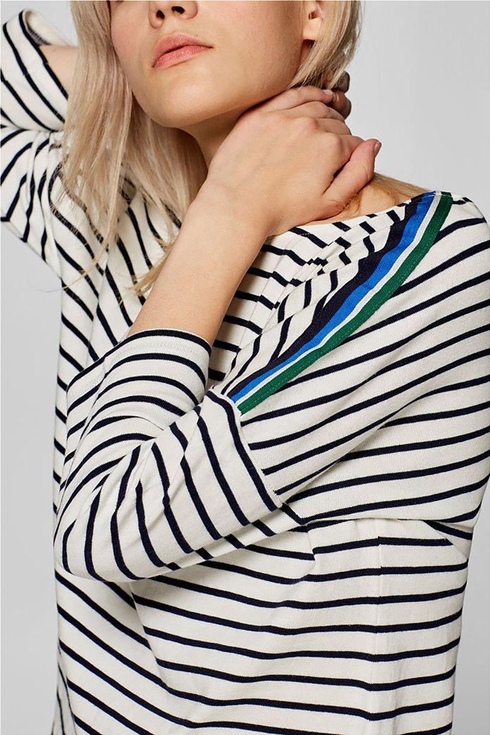 Esprit γυναικεία ριγέ μπλούζα με ριγέ λεπτομέρεια στους ώμους 0