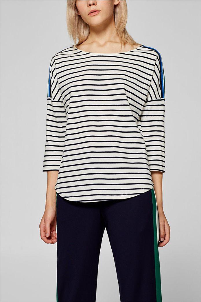 Esprit γυναικεία ριγέ μπλούζα με ριγέ λεπτομέρεια στους ώμους 2