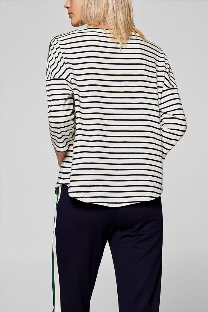 Esprit γυναικεία ριγέ μπλούζα με ριγέ λεπτομέρεια στους ώμους 3