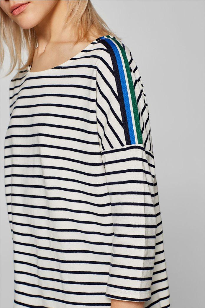 Esprit γυναικεία ριγέ μπλούζα με ριγέ λεπτομέρεια στους ώμους 4