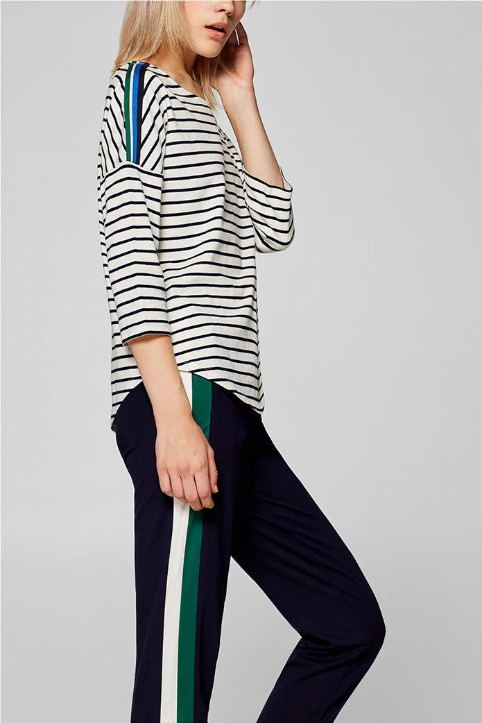 Esprit γυναικεία ριγέ μπλούζα με ριγέ λεπτομέρεια στους ώμους 5