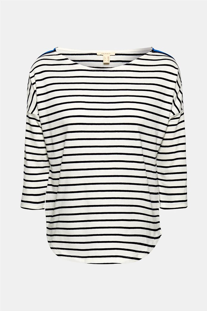Esprit γυναικεία ριγέ μπλούζα με ριγέ λεπτομέρεια στους ώμους 7