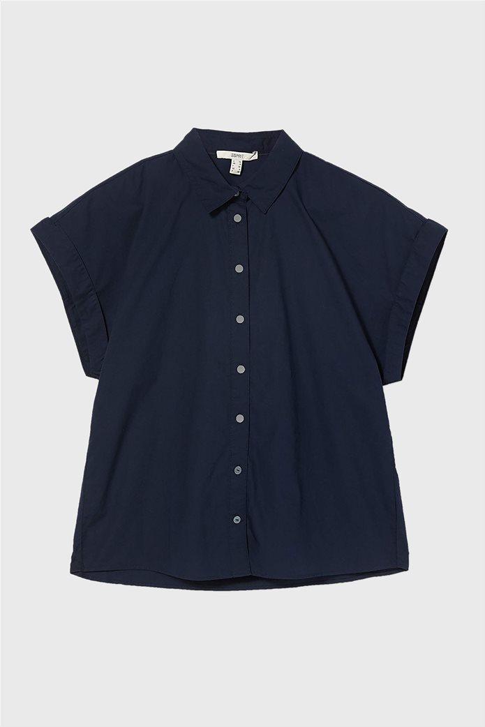 Esprit γυναικείο κοντομάνικο πουκάμισο μονόχρωμο Σκούρο Μπλε 0