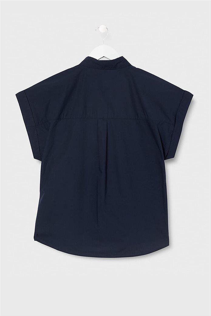 Esprit γυναικείο κοντομάνικο πουκάμισο μονόχρωμο Σκούρο Μπλε 1