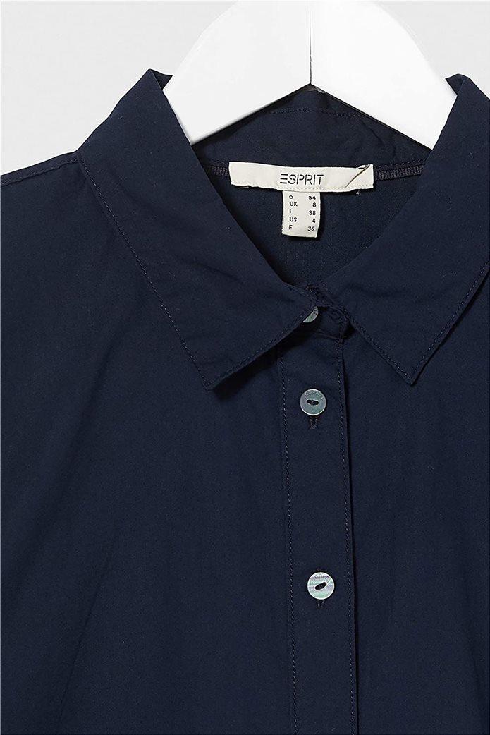 Esprit γυναικείο κοντομάνικο πουκάμισο μονόχρωμο Σκούρο Μπλε 2