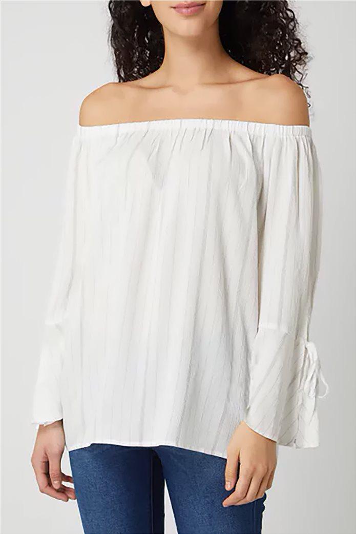 Esprit γυναικεία ριγέ μπλούζα carmen Λευκό 0