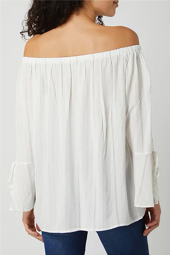 Esprit γυναικεία ριγέ μπλούζα carmen Λευκό 2