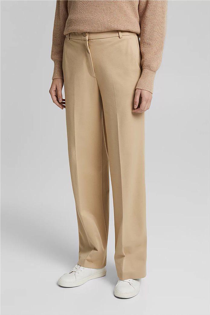 Esprit γυναικείο cropped παντελόνι ψηλόμεσο Μπεζ 0