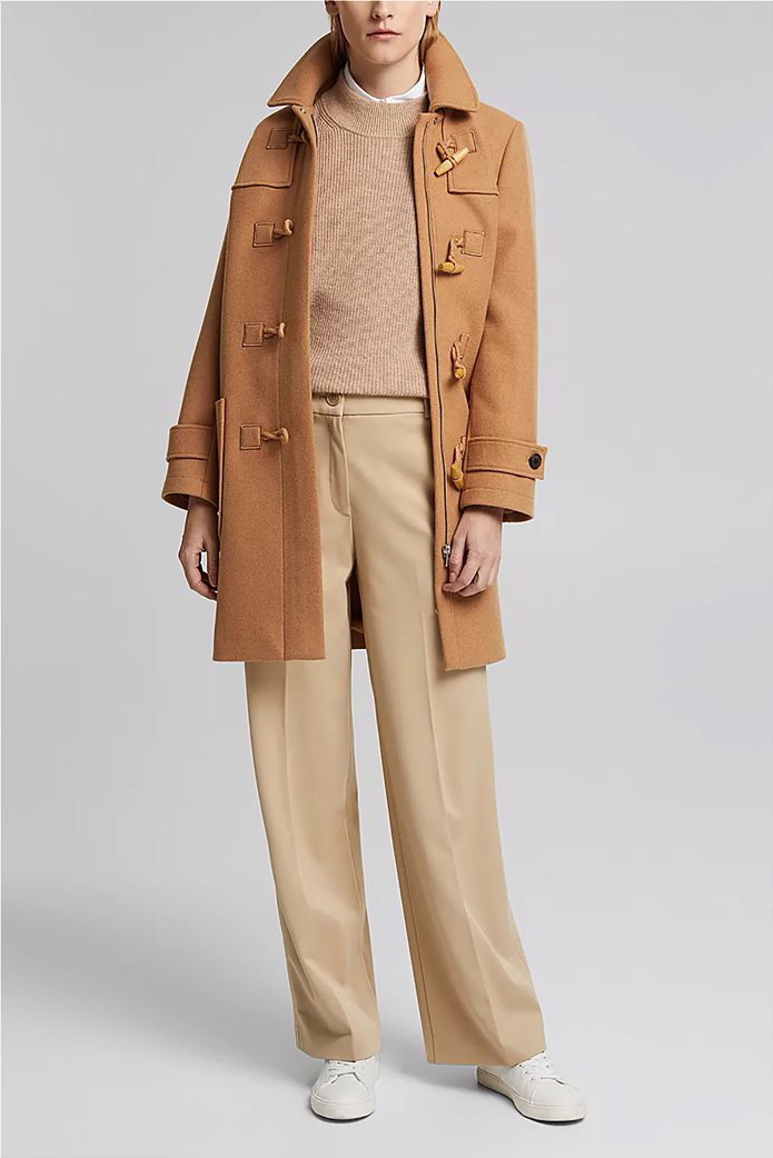 Esprit γυναικείο cropped παντελόνι ψηλόμεσο Μπεζ 1