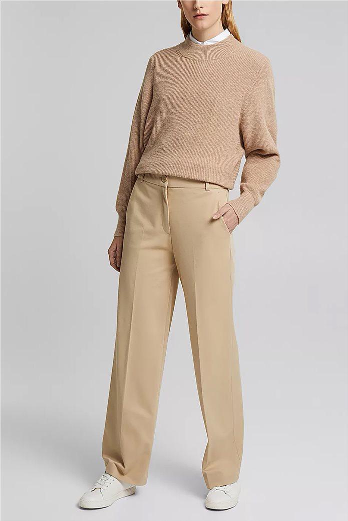 Esprit γυναικείο cropped παντελόνι ψηλόμεσο Μπεζ 4