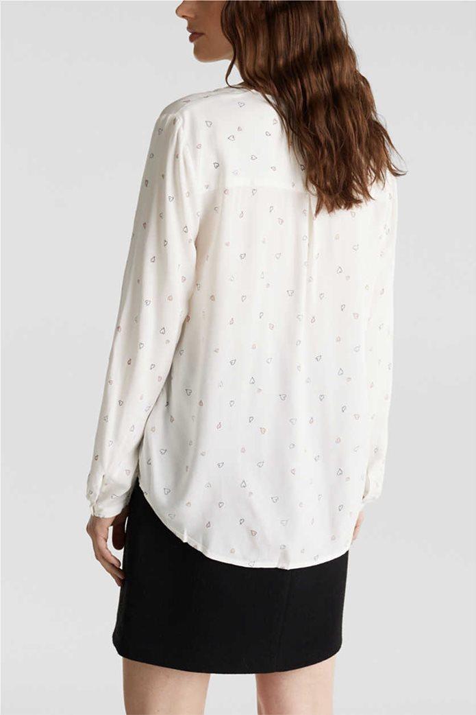 Esprit γυναικείο ριγέ πουκάμισο με μικροσχέδιο καρδιές 1