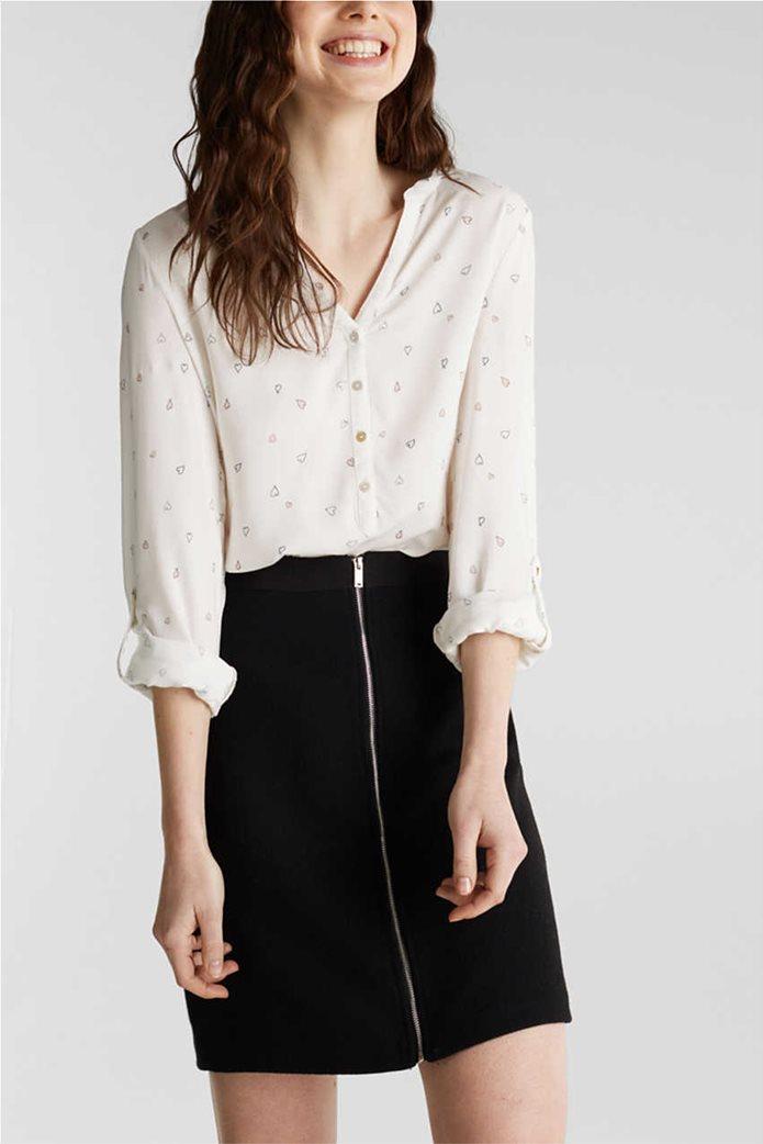Esprit γυναικείο ριγέ πουκάμισο με μικροσχέδιο καρδιές 3