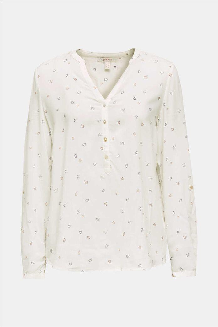 Esprit γυναικείο ριγέ πουκάμισο με μικροσχέδιο καρδιές 4