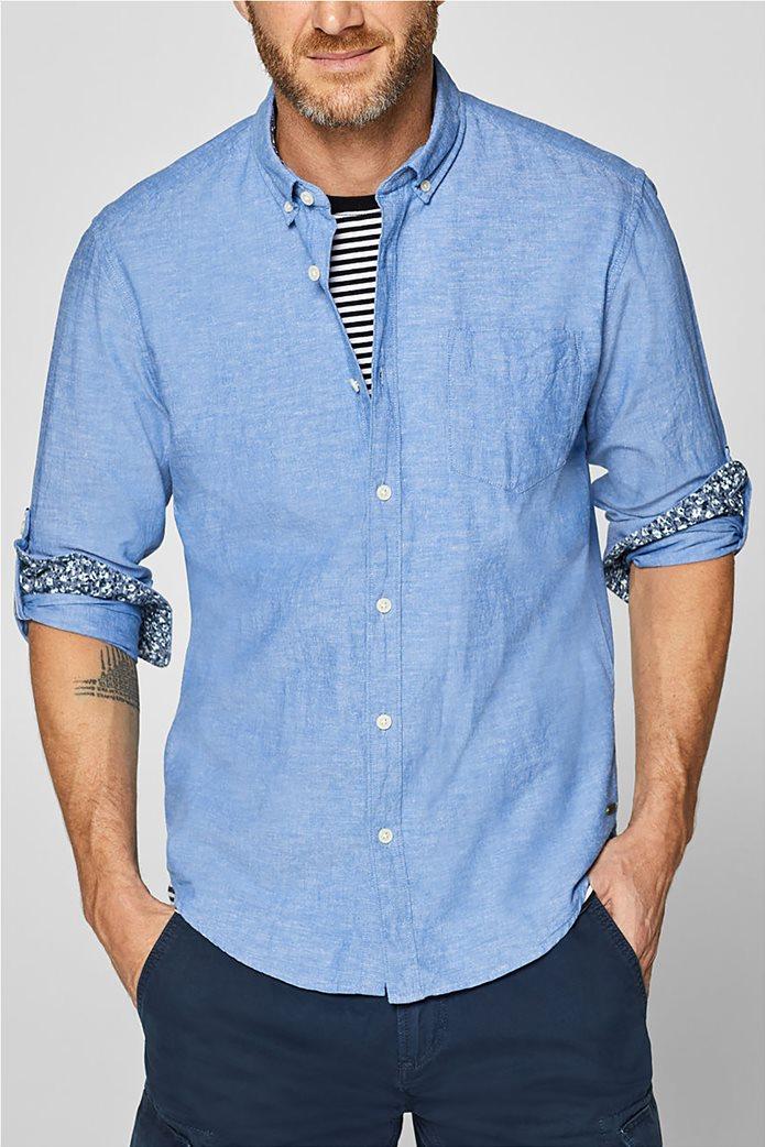 Esprit ανδρικό λινό πουκάμισο με τσέπη 0