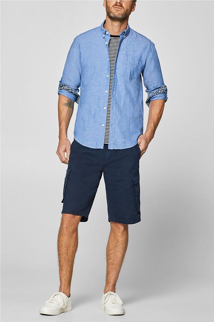 Esprit ανδρικό λινό πουκάμισο με τσέπη 1